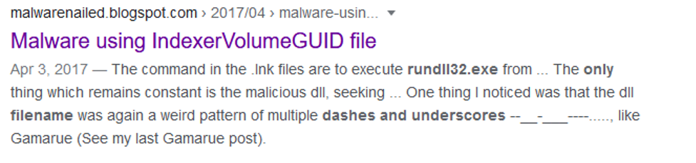 Google search result for file name with only dash underscores rundll